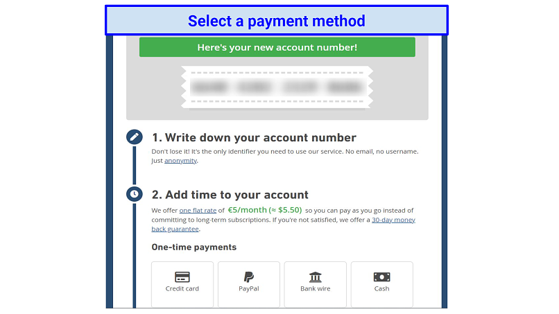 Graphic showing Mullvad payments